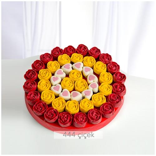 Renkli Çiçekler Kek Buketi