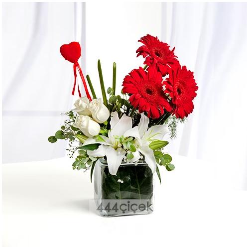 Kırmızı Gerbera Beyaz Gül ve Lilyumlar